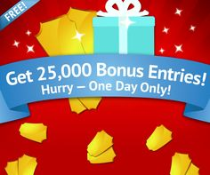 25,000 FREE ENTRIES just for playing today! Tomorrow's prize is the Razor Motorcross bike!     Play NOW! http://www.livetowin.com/promo/25kfr/