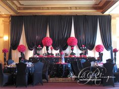 Great Idea & Decor....But Use Different Colors. Put Cake Table In Front of Our Table.