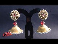 How To make papper Jhumkas earrings . Quilling Studs, Paper Quilling Jewelry, Quilling Earrings, Quilling Art, Paper Jewelry, Jhumkas Earrings, Silk Thread Earrings Designs, Thread Jewellery, Diy Jewellery