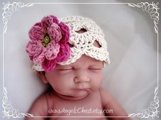 PDF PATTERN Eggshell beanie hat with flowers by AngelsChest, $6.99