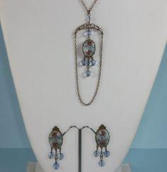 Vintage Necklace Clip Earrings Porcelain Transfer by PastSplendors, $46.00