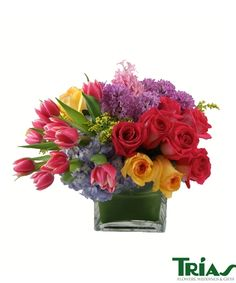 """Perfect Gift for MOM! """"Brilliant Blooms"""" by Trias Flowers in Miami, FL #momsday #mothersday #roses #tulips #hyacinth #hydrangea #solidago"""