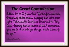 The Great Commission, lets keep doing this.