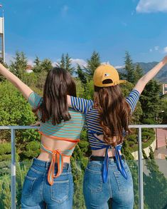 Image may contain: one or more people, people standing, stripes, child, tree and outdoor Girl Group Pictures, Cute Friend Pictures, Cute Korean, Korean Girl, Asian Girl, Fashion Couple, Teen Fashion, Ulzzang Couple, Ulzzang Girl