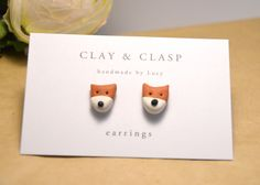 Fox earrings - beautiful handmade polymer clay jewellery by Clay and Clasp. $20.00, via Etsy.