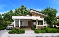 Elvira - 2 Bedroom small house plan with Porch - Pinoy House Plans Porch House Plans, Duplex House Plans, Bungalow House Plans, Modern Bungalow House Design, Simple House Design, Cool House Designs, Beautiful House Plans, Simple House Plans, Modern House Plans