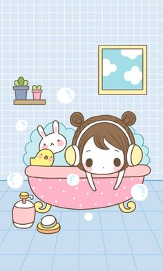 Taking a bath ★ Find more #kawaii wallpapers for your #iPhone + #Android…