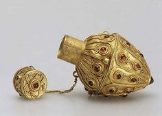 """Perfume Flask. Late 2nd -3d century A.D. Gold, garnet."" From the exhibition ""Treasures of the Sarmatians - from the Azov Museum of History, Archaeology and Paleontology. The State Hermitage Museum. Via The Curated Object."