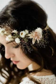 bridal jewelry for the radiant bride Flower Crown Bride, Flower Crown Hairstyle, Bridal Crown, Crown Hairstyles, Bride Hairstyles, Bridal Hair, Flower Crowns, Wedding Hair, Flowers In Hair
