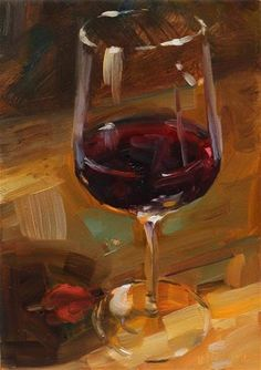 "Daily+Paintworks+-+""Time+for+a+wine""+-+Original+Fine+Art+for+Sale+-+©+Miranda+Dalessi"