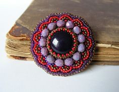 Embroidery Brooch Bead embroidered Brooch Beadwork Brooch Purple Red Brooch Ethnic Boho jewelry Purple Red Copper MADE TO ORDER - Great colors