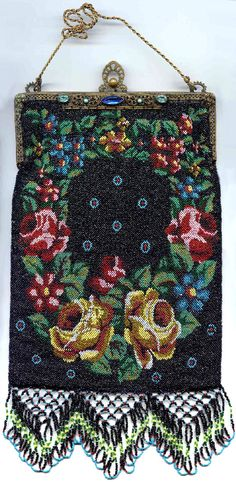 Floral Beaded Purse with Double-Sided Jeweled Frame and Lush Lattice Fringe.  Click on image for more photos.