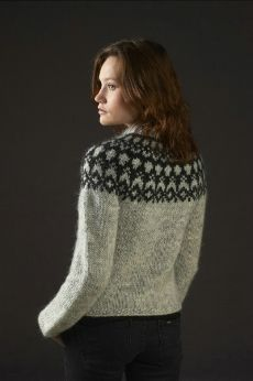 Héla - Free Icelandic sweater pattern. Used 3 colour plus natural base, dyed Rhubarb, coral, yellow and green.