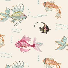 Turn your bathroom into a picturesque sea-inspired space with Nina Campbell's Fish Wallpaper. Click for more fishy finds!