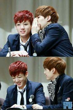Yoongi whisper into Jungkook's ear