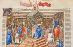 A bishop blesses the inside of a church. Then he says mass. #manuscript #architectural #parchment #illumnation