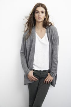 Cashmere Cardigan :: Boyfriend Fit Sweater :: Luxury Cashmere :: Velvet by Graham & Spencer