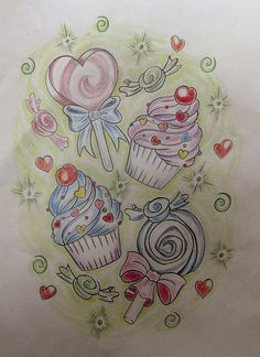 candy themed tattoo...I always wanted something like this on my hip. My mom always said once on the lips, forever on the hips :)