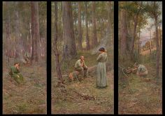Frederick McCubbin: His triptych (set of three paintings) The Pioneer, produced in is an iconic Australian painting. It depicts the 'selectors' who settled much of Australia's farmland in the latter years of the century. Australian Painting, Australian Artists, Google Art Project, Oil Painting Techniques, Painting Tutorials, Art Techniques, Most Famous Paintings, Landscape Artwork, Lost Art