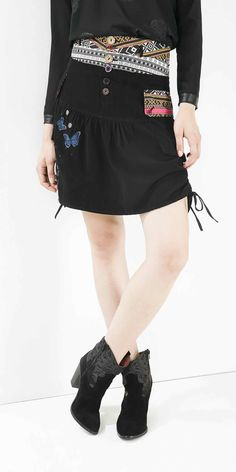 Desigual Skirt Gloria, Black Bubble Skirt