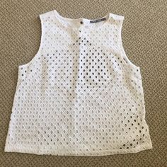 Michael Stars top Cropped eyelet shell top with back button Michael Stars Tops Crop Tops