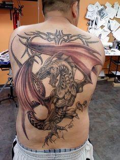 New Back Dragon Tattoo Design for Men