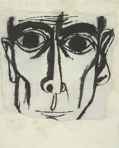 "Ben Shahn, drawing, J. Robert Oppenheimer  ""Who knows when a trenchant line becomes a human face?"" -- Ben Shahn"