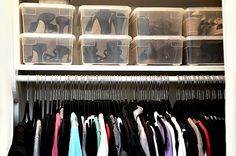 Shoe Storage Solutions- this would be a good idea for my dress shoes & sandals- with clear boxes I wouldn't have to open 3 million looking for the pair I want. Plus the shelf in my closet is perfect for this
