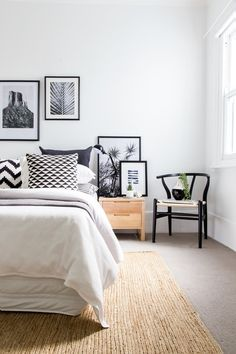 Black art bedroom scandinavian home renovations with wood nightstand black wishbone chair