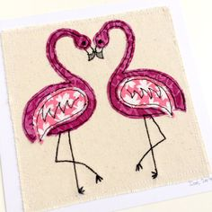 Flamingos greeting card- personalised textile art. 2nd cotton anniversary wedding. embroidery fabric applique picture