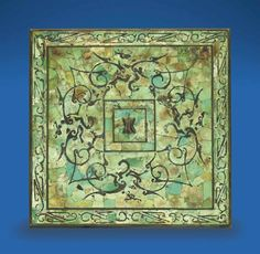 A rare turquoise-inlaid square bronze mirror, Western Han dynasty (206 BC - AD 25)