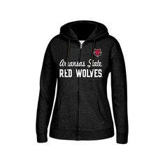 Women's Arkansas State Red Wolves College Cotton Full-Zip Hoodie ($30) ❤ liked on Polyvore featuring tops, hoodies, black, full zipper hoodie, cotton hooded sweatshirt, cotton hoodie, j america hoodie and hoodie top