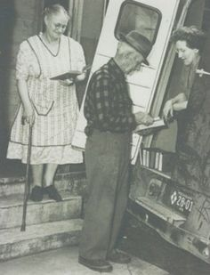 An archival photo belonging to the library shows residents checking out books from the Muskegon County Michigan Library's bookmobile decades ago. Muskegon Michigan, Photo Archive, Over The Years, History, Books, Historia, Libros, Book, Book Illustrations