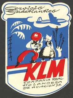Vintage KLM Labels — love the shy Dutch girl Royal Dutch, Art Transportation, Vintage Travel Posters, Vintage Luggage, Vintage Airplanes, Retro Illustration, Vintage Theme, Advertising Poster, Vintage Cards
