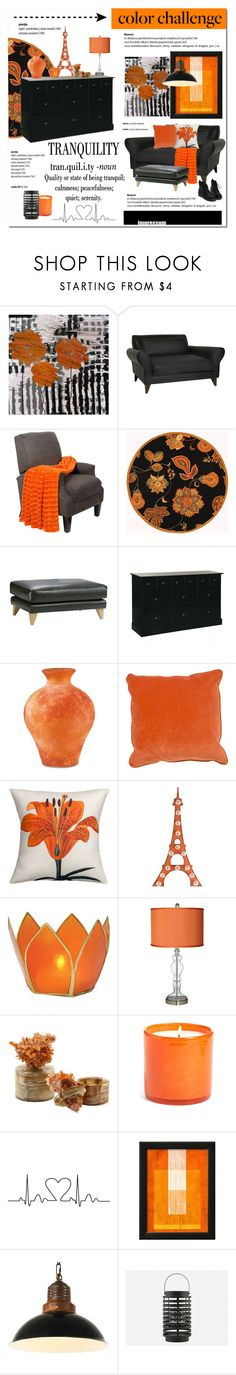 """""""Color Challenge: Orange and Black"""" by cruzeirodotejo ❤ liked on Polyvore featuring interior, interiors, interior design, home, home decor, interior decorating, Universal Lighting and Decor, Safavieh, Jaipur Rugs and Dot & Bo"""