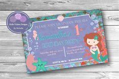 Mermaid Invitation, Mermaid birthday, Mermaid party invitation, under the sea theme, teal and purple , mermaid baby shower,