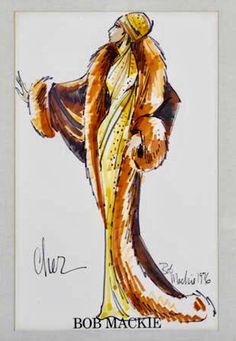 Cher costume sketch by Bob Mackie 1976