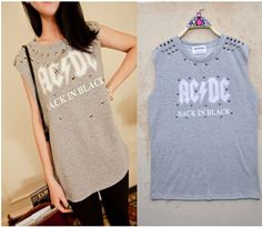 Find More T-Shirts Information about New Designs 2014 Fashion Rivet T Shirts Punk Style Women O Neck Letters Printed Tops Sleeveless Hoody Cotton T shirt TS 255,High Quality shirt shirt,China shirt t-shirt Suppliers, Cheap shirt top from IRIS Knitting Co.,Ltd. on Aliexpress.com