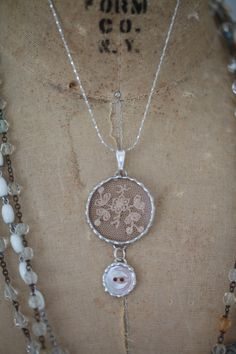 Antique French Net Lace & Antique Button Charm Necklace - ideas for mixed media @nanacita