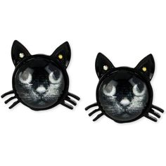 Betsey Johnson Black Cat Stud Earrings (430 ARS) ❤ liked on Polyvore featuring jewelry, earrings, accessories, cat, piercings, no color, stud earrings, cat earrings, cat jewelry and betsey johnson jewellery