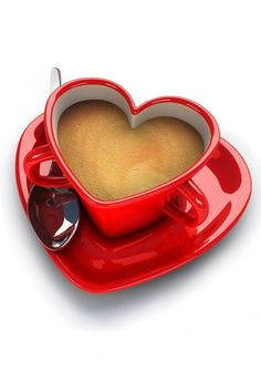 Valentine's Day ~ Red heart coffee cup and saucer Coffee Heart, I Love Coffee, Coffee Break, My Coffee, Coffee Cups, Drink Coffee, Morning Coffee, Coffee Png, Coffee Snobs