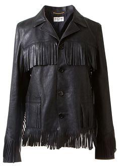Saint Laurent Jackets :: Saint Laurent black leather fringed jacket   Montaigne Market