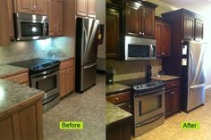 Refinishing my kitchen cabinets cost me less than $100 dollars!  It was hard work but worth it.  I'm a single mom with a very busy corporate job and managed to do this by myself.  You can too!  Check out the step by step instructions at http://www.monicawantsit.com/2012/02/staining-oak-cabinets-espresso-color.html