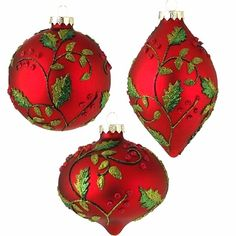 Red Holly Glass Ball Teardrop Kismet Christmas ornament RAZ