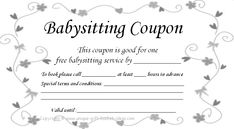 have a night off printable babysitting voucher mother s gifts