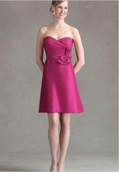 Discount Satin Strapless Sweetheart A-Line Short Bridesmaid Dress Free Measurement