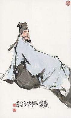 Fan Zeng(b. 1938) SU SHI Hanging scroll; ink and colour on paper  范曾(b. 1938) 東坡臨流圖(戊午(1978年)作) 立軸 設色紙本  82 x 50 cm. 32 1/4 x 19 5/8 in. 約3.7平尺  鈐印:范曾之印、家住長江尾、情貌略似 題識:東坡臨流圖。歲在戊午,江東范曾于北京。