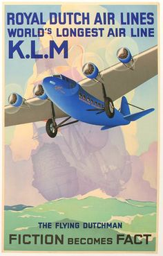 Jan Wijga - Original Vintage 1933 KLM Travel Advertising Poster: The Flying Dutchman - Wijga Travel Ads, Airline Travel, Travel And Tourism, Air Travel, Travel Photos, Retro Poster, Poster Ads, Advertising Poster, Movie Posters