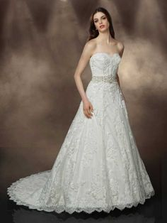 2015 Style A-line Sweetheart Sweep/Brush Train Tulle Wedding Dresses #QS293