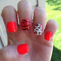 Neon orange leopard and zebra. Summer nails.